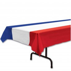 USA Red, White & Blue Striped Plastic Table Cover