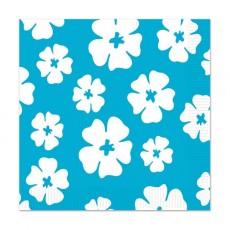 Hawaiian Blue & White Luau Hibiscus Lunch Napkins