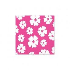 Hawaiian Pink & White Hibiscus Luau Beverage Napkins