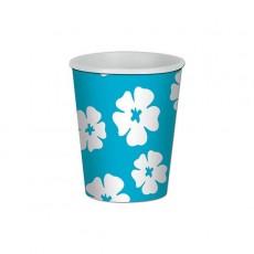 Hawaiian Green & White, Blue & White Hibiscus Luau Paper Cups