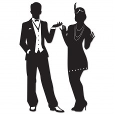 Great 1920's Black Male & Female Silhouettes Cutouts 93cm Pack of 2