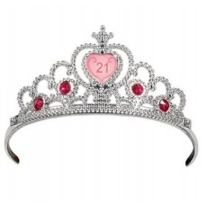21st Birthday Silver with Pink Jewels Tiara