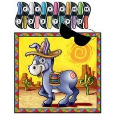 Mexican Fiesta Donkey Pin the Tail Party Game