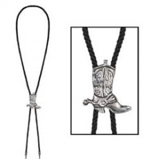 Cowboy & Western Silver Metal Sliding Boot Bolo Tie Costume Accessorie