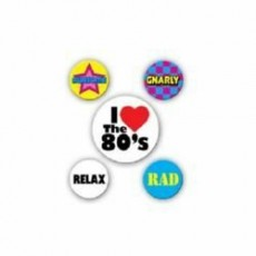 Totally 80's Party Button Badges Costume Accessories