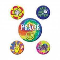 Feeling Groovy & 60's 60s Party Peace Button Badges Costume Accessories