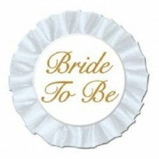Bridal Shower Bride To Be Satin Button Costume Accessorie