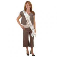 Bachelorette White & Gold Satin Sash Costume Accessorie