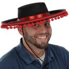 Fiesta Black & Red Spanish Felt Hat Head Accessorie