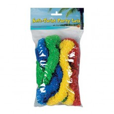 Hawaiian Green, Yellow, Red & Blue Soft Twist Leis Costume Accessories