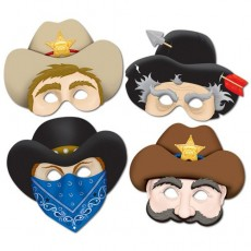 Cowboy & Western Party Masks Pack of 4