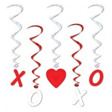 Valentine's Day X O & Hearts Whirl Hanging Decorations