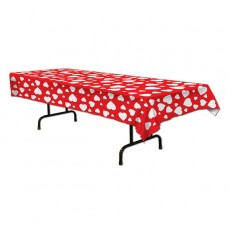 Valentine's Day Red & White Hearts Plastic Table Cover