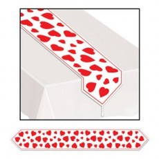 Valentine's Day White with Red Hearts Table Runner