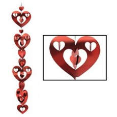 Valentine's Day Red 3D Hearts Hanging Decorations