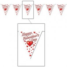 Valentine's Day Plastic Flag Pennant Banner 27cm x 3.66m