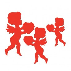 Red Valentine's Day Cupid & Heart Cutouts Pack of 6