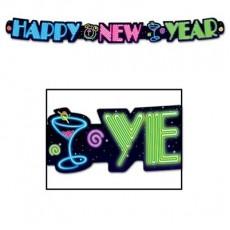 Neon Streamer Happy New Year Banner 7.5cm x 91cm