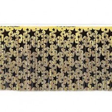 New Year Gold with Black Stars Table Skirt 76cm x 4.3m