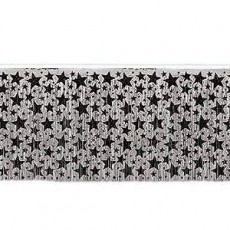 New Year Silver with Black Stars Table Skirt