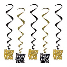 Black & Gold Whirls Happy New Year Hanging Decorations 83cm Pack of 5