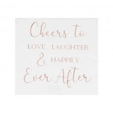 Botanical Wedding Cheers to Love, Laughter & Happily Ever After Lunch Napkins 16.5cm x 16.5cm Pack of 16
