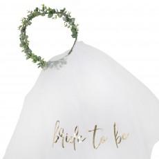 Bridal Shower Party Supplies - Gold Botanical Eucalyptus Bridal Crown