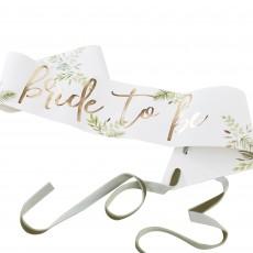 Bridal Shower Gold Botanical Sash Costume Accessorie