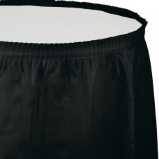Black Velvet Plastic Table Skirt