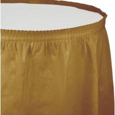 Glittering Gold Plastic Table Skirt 74cm x 4.26m