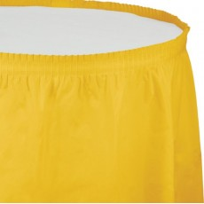Yellow School Bus Plastic Table Skirt