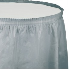 Shimmering Silver Plastic Table Skirt 74cm x 4.26m