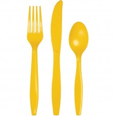 School Bus Yellow Plastic Cutlery Sets For 8 Guests Pack of 24