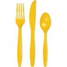 Yellow School Bus Plastic Cutlery Sets