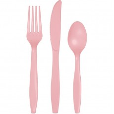 Classic Pink Plastic Cutlery Sets Pack of 24