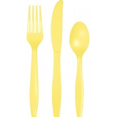 Mimosa Yellow Plastic Cutlery Sets For 8 Guests Pack of 24