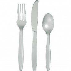 Shimmering Silver Plastic Cutlery Sets Pack of 24