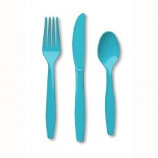 Bermuda Blue Plastic Cutlery Sets Pack of 24