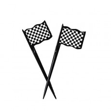 Black & White Check Racing Flags Party Picks 9cm x 3cm Pack of 12