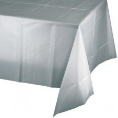Rectangle Shimmering Silver Plastic Table Cover