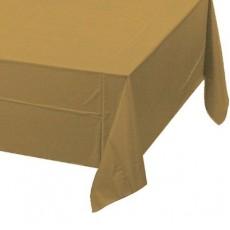 Rectangle Glittering Gold Plastic Table Cover 137cm x 274cm