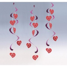 Love Metallic Finish Red & Pink Hearts & Foil Dizzy Danglers Swirl Hanging Decorations