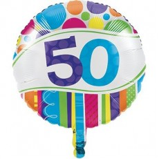 50th Birthday Bright and Bold Foil Balloon