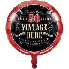Round Vintage Dude 50th Birthday Foil Balloon 45cm