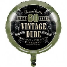 Round Vintage Dude 60th Birthday Foil Balloon 45cm