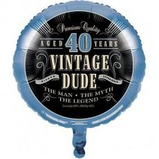 Round Vintage Dude 40th Birthday Foil Balloon 45cm