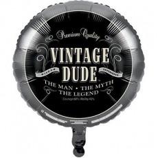 Round Vintage Dude Foil Balloon 45cm