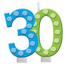 30th Birthday Bright and Bold Molded Numeral Candle