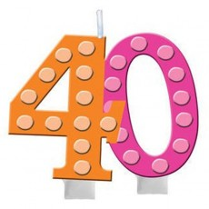 40th Birthday Bright and Bold Molded Numeral Candle