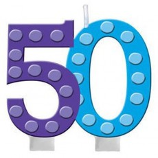 50th Birthday Bright and Bold Candle
